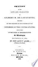 Oration on the life and character of Gilbert M. de Lafayette