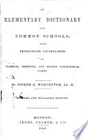 An Elementary Dictionary for Common Schools