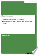 Johann Peter Hebels Erz  hlung  Kannitverstan  im Kontext der Deutschen Klassik