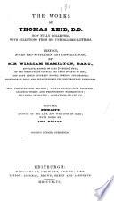 The Works of Thomas Reid  D D