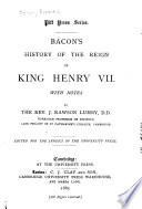 Bacon s History of the Reign of King Henry VII