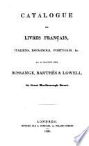 Catalogue Des Livres Fran  ais  Italiens  Espagnols  Portugais   c