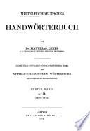 Mittelhochdeutsches Handworterbuch