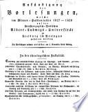 Ankündigung der Vorlesungen der Badischen Albert-Ludwigs-Universität Freiburg im Breisgau