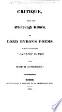 Critique, from the Edinburgh Review, on Lord Byron's Poems