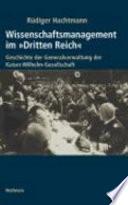 """Wissenschaftsmanagement im """"Dritten Reich"""""""