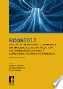 ECOS 2012 The 25th International Conference on Efficiency  Cost  Optimization and Simulation of Energy Conversion Systems and Processes  Perugia  June 26th June 29th  2012