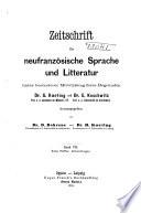 Zeitschrift für französische Sprache und Litteratur