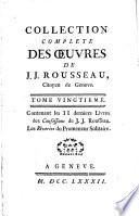 COLLECTION COMPLETE DES OEUVRES DE J  J  ROUSSEAU  Citoyen de Geneve