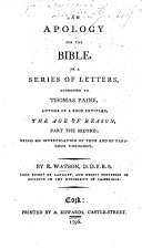 download ebook an apology for the bible, in a series of letters, addressed to thomas paine ... second edition pdf epub