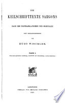 Die keilschrifttexte Sargons: Historisch-sachliche einleitung, umschrift und übersetzung, wörterverzeichnis
