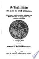 Geschichts-Blätter für Stadt und Land Magdeburg