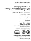 Changing Practices in Ground Water Management  the Pros and Cons of Regulation