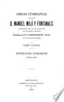 Obras completas del Doctor d  Manuel Mil   y Fontanals