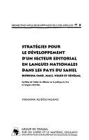 Strategies Pour Le Developpment D'UN Secteur Editorial En Langues Nationales Dans Les Pays Du Sahel