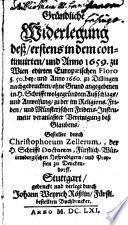 Gründliche Widerlegung des ... 1659 ... zu Wien edirten lit. floro