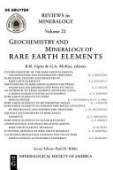 Geochemistry and Mineralogy of Rare Earth Elements