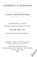 Local examinations  Examination papers  with class lists and supplementary tables