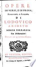 Opere In Versi, E In Prosa, Italiane E Latine