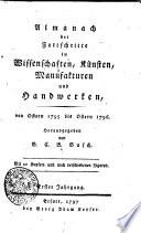 Almanach der Fortschritte in Wissenschaften, Künsten, Manufakturen und Handwerken