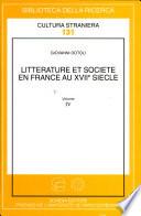 Littérature et société en France au XVIIe siècle