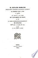 Il senato Romano nella sette epoche di svariato governo da Romolo fine a noi