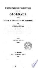 L Annotatore Piemontese ossia Giornale della Lingua e Letteratura Italiana