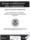 Review of the Department of Homeland Security s Handling of Suspicious Passengers Aboard Northwest Flight 327
