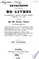 Catalogue d'une collection de livres, ... délaissés par Mr. Carion