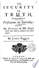 The Security of Truth, Without the Assistance of Persecution Or Scurrility