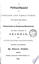 A Vocabulary of English and Tamil Words
