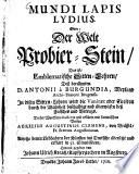 Mundi lapis Lydius  oder  Der Welt Probier Stein