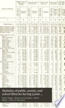 Statistics of Public, Society, and School Libraries Having 5,000 Volumes and Over in 1908