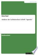"""Analyse der Leibnizschen Schrift """"Agenda"""""""