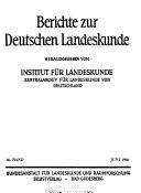 Berichte zur deutschen Landeskunde