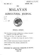 The Malayan Agricultural Journal