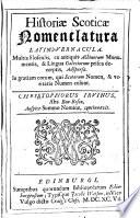 Histori Scotic Nomenclatura Latino Vernacula