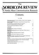 The NORDICOM Review of Nordic Mass Communication Research