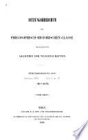 Register zu den Bänden [1] bis 100 (1854 bis 1883) der Sitzungsberichte der philosophisch-historische classe der Akademie der Wissenschaften