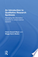 An Introduction to Qualitative Research Synthesis Qualitative Studies An Introduction To