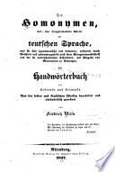 Die Homonymen, laut- oder klangverwandten Wörter der teutschen Sprache, was sie sind (grammatisch) und bedeuten