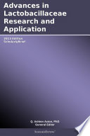 Advances In Lactobacillaceae Research And Application 2013 Edition