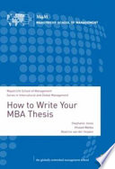 How to Write Your MBA Thesis