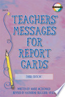 Teachers  Messages for Report Cards  Grades K   8