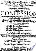 Aufrichtige Ubereinstimmung mit der Augsp. Confession, zu nöthiger Vertheidigung seiner reinen lehre