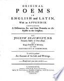 Original Poems in English and Latin
