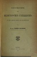 Geschichte des medicinischen Unterrichts