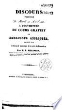Discours prononc   le mardi 23 avril 1833     l ouverture du cours gratuit de botanique appliqu  e  institu   par le Conseil municipal de la ville de Versailles