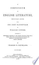 A Compendium Of English Literature Chronologically Arranged From Sir John Mandeville To William Cowper Stereotype Edition