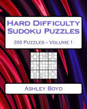 Hard Difficulty Sudoku Puzzles Volume 1